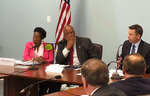 Democratic U.S. Reps. Sheila Jackson Lee of Texas and Bennie Thompson of Mississippi listen as the U.S. acting secretary of homeland security, Kevin K. McAleenan, speaks Tuesday, Aug. 13, 2019, at a federal building in Jackson, Miss. Homeland Security head McAleenan says white supremacist ideology is fueling some domestic terrorism. (AP Photo/Emily Wagster Pettus)