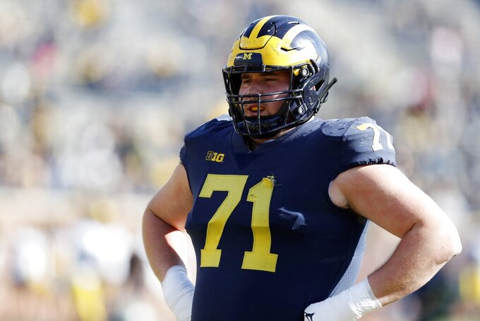 Michigan offensive lineman Andrew Stueber during team's annual spring NCAA college football game, Saturday, April 13, 2019, in Ann Arbor, Mich. (AP Photo/Carlos Osorio)