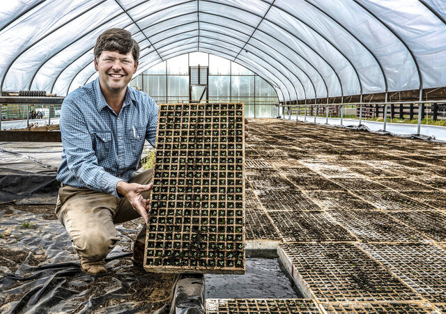 Aaron Walker holds a tobacco tray full of tobacco seedlings in his greenhouse on his farm Tuesday, April 7, 2019, in Philpot, Ky. Walker seeded the greenhouse in mid-March, with the goal of having
