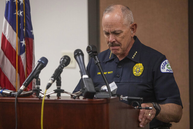 Ogden Police Chief Randy Watt speaks at a press conference after an officer involved shooting earlier in the afternoon on Thursday, May 28, 2020, at the Ogden Police Department. The chief reported that one police officer was killed at the scene and another was injured. The shooter also died at the scene. (Ben Dorger/Standard-Examiner via AP)
