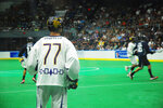 This Sept. 18, 2015 photo shows Jeff Shattler, of the Iroquois Nationals during the 2015 World Indoor Lacrosse Championships on the Onondaga Nation Reservation just south of Syracuse, New York. The Ireland Lacrosse team recently bowed out of the sport's top international tournament to open up a spot for the Iroquois Nationals. It's the latest in a series of gestures between the country and U.S. tribes that date back to 1847, when Choctaw leaders gave $170 to the Irish as their country battled a potato famine that resulted in the death of tens of thousands. Historians estimate today's value of the amount at roughly $5,000. (Jourdan Bennett-Begaye, Indian Country Today via AP)