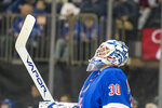 New York Rangers goaltender Henrik Lundqvist reacts after a goal scored by Florida Panthers center Aleksander Barkov during the first period of an NHL hockey game, Sunday, Nov. 10, 2019, in New York. (AP Photo/Corey Sipkin)