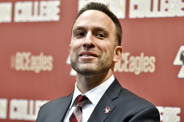 Jeff Hafley speaks at a news conference where he was introduced as the new NCAA college football head coach at Boston College, Monday, Dec. 16, 2019, in Boston. (AP Photo/Josh Reynolds)