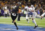 Appalachian State wide receiver Corey Xavier Sutton (2) pulls in a touchdown reception against Middle Tennessee defensive back Cordell Hudson (22) in the second half of the New Orleans Bowl NCAA college football game in New Orleans, Saturday, Dec. 15, 2018. Appalachian State won 45-13. (AP Photo/Gerald Herbert)