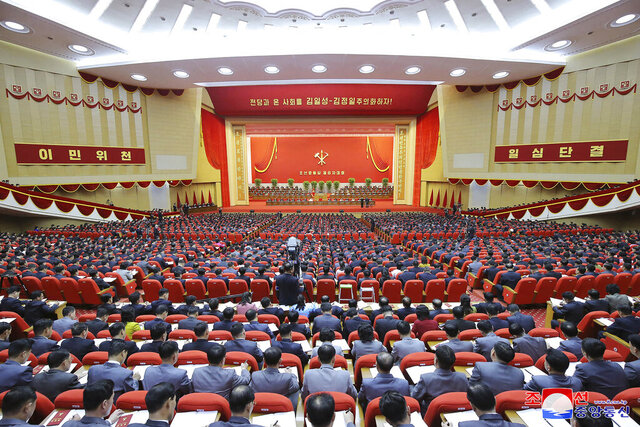 In this photo provided by the North Korean government, a ruling party congress is held in Pyongyang, North Korea Tuesday, Jan. 5, 2021. North Korean leader Kim Jong Un opened its first Workers' Party Congress in five years with an admission of policy failures and a vow to lay out new developmental goals, state media reported Wednesday. Independent journalists were not given access to cover the event depicted in this image distributed by the North Korean government. The content of this image is as provided and cannot be independently verified. Korean language watermark on image as provided by source reads: