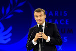 French President Emmanuel Macron delivers his speech at the Paris Peace Forum Tuesday, Nov. 12, 2019 in Paris. (AP Photo/Michel Euler, Pool)