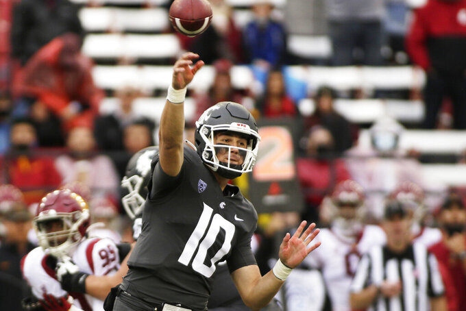 Washington State quarterback Victor Gabalis throws a pass during the second half of an NCAA college football game against Southern California, Saturday, Sept. 18, 2021, in Pullman, Wash. Southern California won 45-14. (AP Photo/Young Kwak)