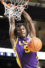 LSU forward Emmitt Williams dunks against Vanderbilt in the first half of an NCAA college basketball game Wednesday, Feb. 5, 2020, in Nashville, Tenn. (AP Photo/Mark Humphrey)