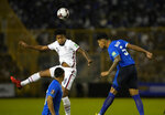 United States's Weston McKennie, left, and El Salvador's Ronald Rodriguez, head for the ball during a qualifying soccer match for the FIFA World Cup Qatar 2022 at Cuscatlan stadium in San Salvador, El Salvador, Thursday, Sept. 2, 2021. (AP Photo/Moises Castillo)