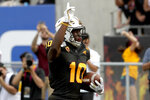 Arizona State wide receiver Kyle Williams (10) celebrates his touchdown against Southern California during the first half of an NCAA college football game, Saturday, Nov. 9, 2019, in Tempe, Ariz. (AP Photo/Matt York)