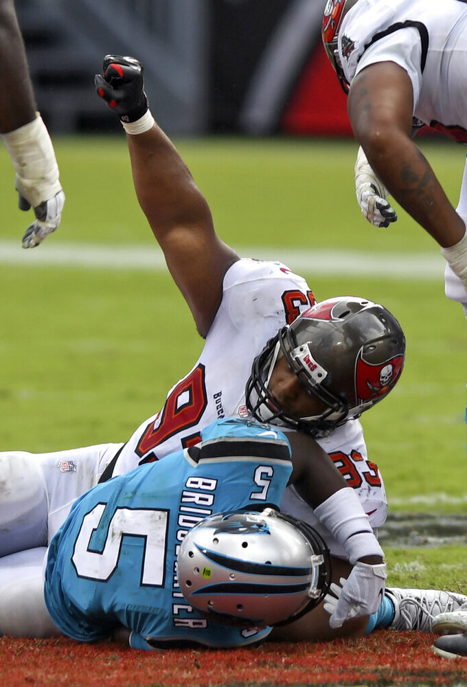 Tampa Bay Buccaneers nose tackle Ndamukong Suh (93) celebrates after sacking Carolina Panthers quarterback Teddy Bridgewater (5) during the second half of an NFL football game Sunday, Sept. 20, 2020, in Tampa, Fla. (AP Photo/Jason Behnken)