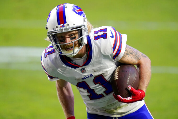 Buffalo Bills wide receiver Cole Beasley (11) runs in for a touchdown after the catch during the second half of an NFL football game against the Arizona Cardinals, Sunday, Nov. 15, 2020, in Glendale, Ariz. (AP Photo/Ross D. Franklin)