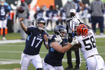Tennessee Titans quarterback Ryan Tannehill (17) throws during the second half of an NFL football game against the Cincinnati Bengals, Sunday, Nov. 1, 2020, in Cincinnati. (AP Photo/Jay LaPrete)