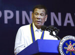 FILE - In this June 17, 2019, file photo made available by the Malacanang Presidential Photo, Philippine President Rodrigo Duterte delivers his speech during the 121st Philippine Navy Anniversary at Sangley point, Cavite province, Philippines. Duterte is