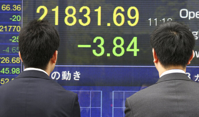 Passers-by look at an electronic stock board of a securities firm showing Japan's benchmark Nikkei 225 in Tokyo, Tuesday, April 17, 2018. Asian shares were mostly higher but little changed Tuesday, as global investors were relieved to see that the attack on Syria likely won't escalate but worries remained about U.S.-China trade tensions. (AP Photo/Koji Sasahara)
