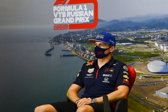 Red Bull driver Max Verstappen of the Netherlands attends a media conference prior to the Russian Formula One Grand Prix, at the Sochi Autodrom circuit, in Sochi, Russia, Thursday, Sept. 24, 2020. The Russian Formula One Grand Prix will take place on Sunday, Sept. 27, 2020. (Mark Sutton, Pool via AP)