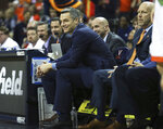 Virginia head coach Tony Bennett reacts during the second half of an NCAA college basketball game against Marshall on Monday, Dec. 31, 2018, in Charlottesville, Va. Virginia beat Marshall 100-64. (AP Photo/Zack Wajsgras)