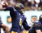 California quarterback Devon Modster (6) passes against the Oregon State in the first quarter of an NCAA college football game in Berkeley, Calif., Saturday, October 19, 2019. (AP Photo/John Hefti)