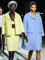 The latest fashion creation from Marc Jacobs is modeled during New York's Fashion Week, Wednesday Feb. 12, 2020. (AP Photo/Bebeto Matthews)