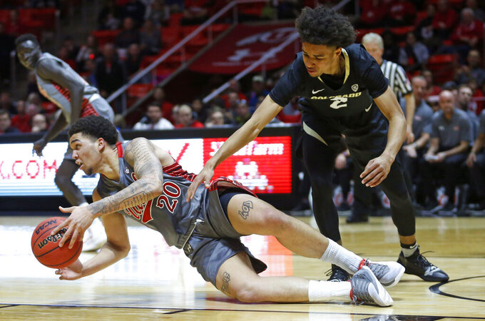 Utah forward Timmy Allen (20) passes the ball as Colorado guard Daylen Kountz (2) defends during the first half of an NCAA college basketball game Sunday, Jan. 20, 2019, in Salt lake City. (AP Photo/Rick Bowmer)