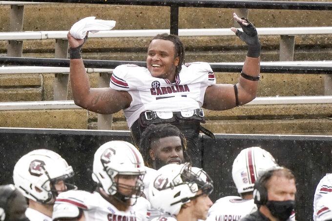 South Carolina offensive lineman Eric Douglas celebrates late in the second half of an NCAA college football game against Vanderbilt Saturday, Oct. 10, 2020, in Nashville, Tenn. South Carolina won 41-7. (AP Photo/Mark Humphrey)