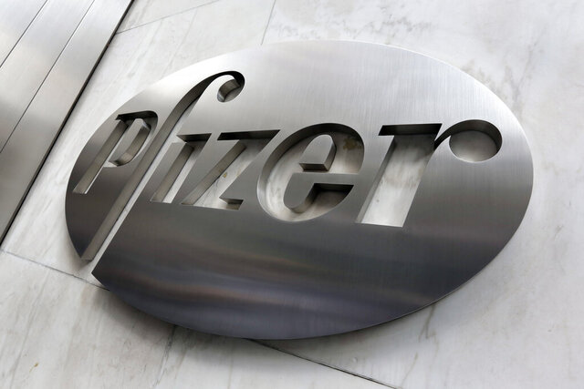 This Monday, Dec. 4, 2017, photo shows the Pfizer company logo at the company's headquarters in New York.  Pfizer said, Tuesday, April 28, 2020,  the COVID-19 pandemic is disrupting its patient testing of experimental drugs and will reduce revenue significantly in the second quarter, but its manufacturing plants are running normally. (AP Photo/Richard Drew, File)