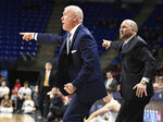 Penn State head coach Patrick Chambers, left, and assistant head coach Keith Urgo, right, react to a call by an official during the first half of an NCAA college basketball game Wednesday, Feb. 27, 2019, in State College, Pa. (AP Photo/John Beale)