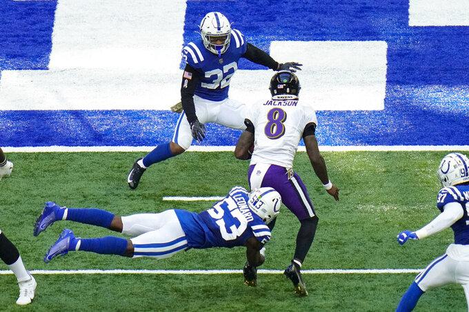 Indianapolis Colts outside linebacker Darius Leonard (53) tackles Baltimore Ravens quarterback Lamar Jackson (8) in the second half of an NFL football game in Indianapolis, Sunday, Nov. 8, 2020. (AP Photo/AJ Mast)