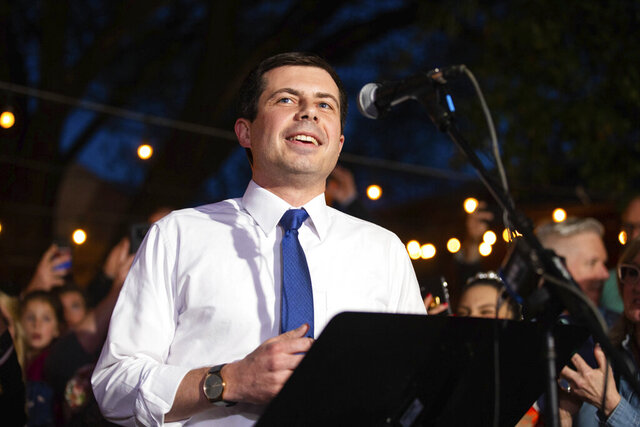 Former Democratic presidential primary candidate Pete Buttigieg endorses Democratic presidential primary candidate, former Vice President Joe Biden during an event at the Chicken Scratch restaurant the night before Super Tuesday primary voting, on Monday night March 2, 2020 in Dallas. (Juan Figueroa/The Dallas Morning News via AP)