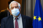 European Union foreign policy chief Josep Borrell arrives for a media conference after a meeting of EU foreign ministers at the European Council building in Brussels, Monday, July 13, 2020. European Union foreign ministers met for the first time face-to-face since the pandemic lockdown and will assess their discuss their relations with China and Turkey. (Francois Lenoir, Pool Photo via AP)
