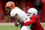 Nebraska defensive lineman Khalil Davis (94) sacks Illinois quarterback AJBush Jr. (1) during the first half of an NCAA college football game in Lincoln, Neb., Saturday, Nov. 10, 2018. (AP Photo/Nati Harnik)