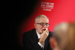 Britain's Labour party leader Jeremy Corbyn pauses as he delivers a speech in London, England, Wednesday, Nov. 27, 2019,  ahead of the general election on Dec. 12. (AP Photo/Frank Augstein)