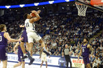 Penn State's Lamar Stevens (11) is fouled by Northwestern's Pete Nance during the second half of an NCAA college basketball game, Saturday, Feb. 15, 2020, in State College, Pa. (AP Photo/Gary M. Baranec)