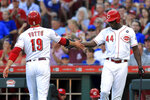 Cincinnati Reds' Joey Votto celebrates with teammate Aristides Aquino (44) after scoring a run on an RBI-double by Josh VanMeter in the first inning inning of a baseball game against the Chicago Cubs, Saturday, Aug. 10, 2019, in Cincinnati. (AP Photo/Aaron Doster)
