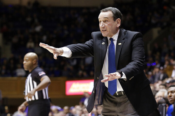 FILE - In this Nov. 12, 2019, file photo, Duke head coach Mike Krzyzewski reacts to a play during the first half of an NCAA college basketball game against Central Arkansas in Durham, N.C. Duke Hall of Fame coach Mike Krzyzewski will coach his final season with the Blue Devils in 2021-22, a person familiar with the situation said Wednesday, June 2, 2021. The person said former Duke player and associate head coach Jon Scheyer would then take over as Krzyzewski's successor for the 2022-23 season. (AP Photo/Gerry Broome, File)
