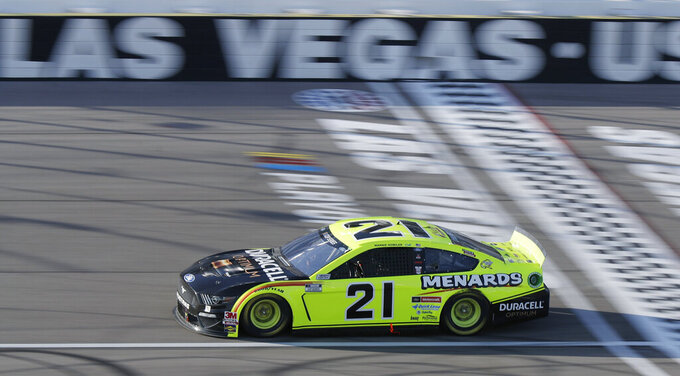 Matt DiBenedetto drives during a NASCAR Cup Series auto race Sunday, Sept. 27, 2020, in Las Vegas. (AP Photo/Isaac Brekken)