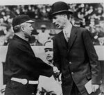 FILE - In this Oct. 14, 1911, file photo,  Philadelphia Athletics' Connie Mack, right, and New York Giants ' John McGraw shake hands at the opening game of the 1911 World Series in New York City. The Philadelphia Athletics won back to back World Series in 1910-1911. AP Photo/File)