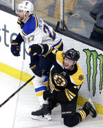 Boston Bruins right wing Chris Wagner (14) celebrates his goal next to St. Louis Blues defenseman Alex Pietrangelo (27) during the third period of an NHL hockey game Thursday, Jan. 17, 2019, in Boston. (AP Photo/Elise Amendola)