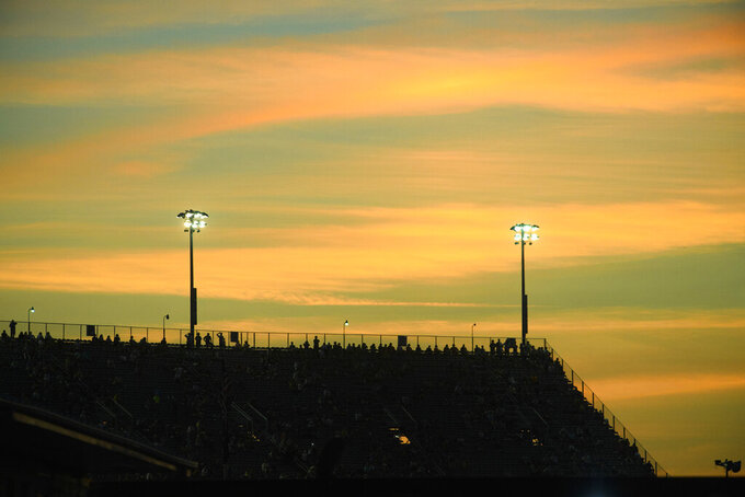 The sets behind the grandstands during a NASCAR Cup Series auto race Sunday, Sept. 5, 2021, in Darlington, S.C. (AP Photo/John Amis)