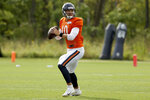 Chicago Bears quarterback Mitchell Trubisky (10) drops back to pass during NFL football training camp at Halas Hall on Tuesday, Sept. 1, 2020, in Lake Forest, Ill. (Dylan Buell/Pool photo via AP)
