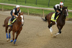 Kentucky Derby entrants Improbable, left, and War of Will run during a workout at Churchill Downs Wednesday, May 1, 2019, in Louisville, Ky. (AP Photo/Charlie Riedel, File)