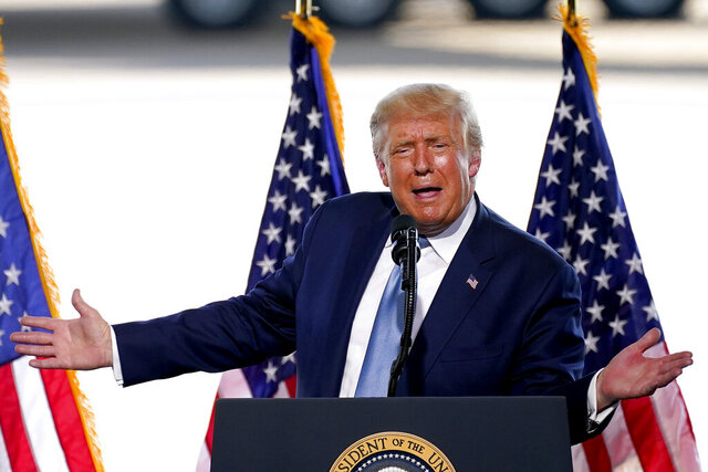 President Donald Trump speaks to a crowd of supporters at the Yuma International Airport Tuesday, Aug. 18, 2020, in Yuma, Ariz. (AP Photo/Matt York)
