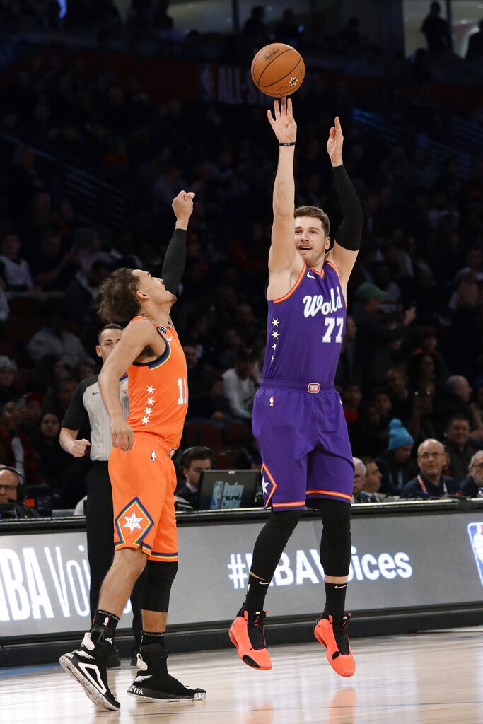 World's Luka Doncic, right, of the Dallas Mavericks, shoots over U.S. guard Trae Young, of the Atlanta Hawks, during the first half of the NBA Rising Stars basketball game in Chicago, Friday, Feb. 14, 2020. (AP Photo/Nam Y. Huh)
