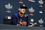 Houston Astros manager AJ Hinch talks to the media during a news conference for baseball's World Series, Monday, Oct. 28, 2019. Houston will play the Washington Nationals in Game 6 on Tuesday. (AP Photo/Eric Gay)