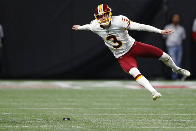 Washington Redskins kicker Dustin Hopkins (3) watches his kick against the Atlanta Falcons during the first half an NFL preseason football game, Thursday, Aug. 22, 2019, in Atlanta. (AP Photo/John Bazemore)