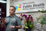 Harris County Public Health Executive Director Dr. Umair Shah talks about contact tracing and the recent spike in COVD-19 cases in Harris County, Thursday, June 25, 2020, in Houston. Texas Gov. Greg Abbott said Wednesday that the state is facing a