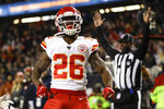 Kansas City Chiefs running back Damien Williams celebrates his 14-yard touchdown reception against the Chicago Bears in the second half of an NFL football game in Chicago, Sunday, Dec. 22, 2019. (AP Photo/Nam Y. Huh)