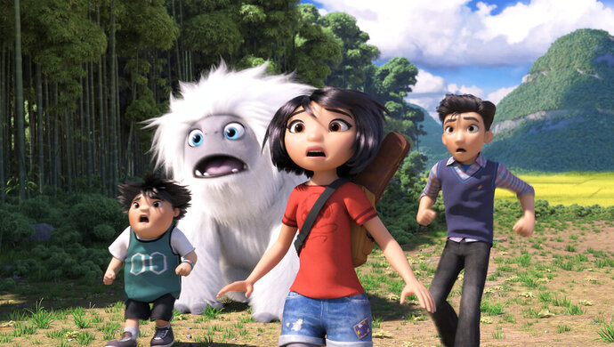 This image released by DreamWorks Animation shows characters, from left, Peng, voiced by Albert Tsai, Everest the Yeti, Yi, voiced by Chloe Bennet and Jin, voiced by Tenzing Norgay Trainor, in a scene from