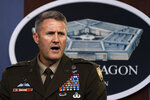 U.S. Army Maj. Gen. William Taylor, Joint Staff Operations, speaks about the situation in Afghanistan during a briefing at the Pentagon in Washington, Friday, Aug. 27, 2021. (AP Photo/Manuel Balce Ceneta)