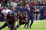 Houston Texans kicker Ka'imi Fairbairn (7) watches his game-winning field goal against the Buffalo Bills during overtime of an NFL wild-card playoff football game Saturday, Jan. 4, 2020, in Houston. The Texans won 22-19 in overtime.(AP Photo/Michael Wyke)